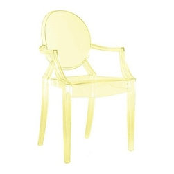 Kartell - LouLou Ghost Child Chair - LouLou Ghost Child Chair is available in a Glossy Opaque Red, Glossy Opaque Black, Glossy Opaque White, Transparent Peacock Green, Transparent Light Blue, Transparent Pink, Transparent Yellow, Transparent Clear Crystal or Transparent Violet finish. Following the runaway success of Louis Ghost, Kartell created a baby version of the famous Starck chair. Lou Lou Ghost inherits its paternal classic lines, material, indestructibility and ergonomics and teaches little ones how to use a pint sized chair with a grown up shape. Made just for children, this chair is available in a rainbow of fun and delightful colors. 15.75 inch width x 24.8 inch height.