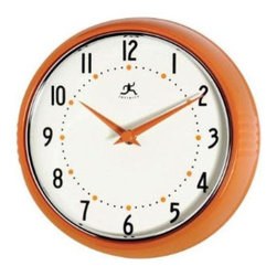Orange Retro 9.5-Inch Metal Wall Clock - A retro clock that looks good while showing you the time.