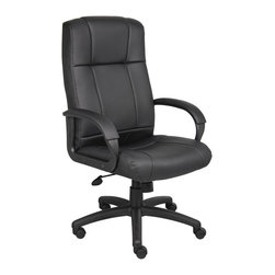 BossChair - Boss Caressoft Executive High Back Chair - Beautifully upholstered with ultra soft and durable Caressoft upholstery. Executive High Back styling with extra lumbar support. Padded armrests covered with Caressoft upholstered. Large 27 nylon base for greater stability. Upright locking position. Pneumatic gas lift seat height adjustment. Adjustable tilt tension control. Hooded double wheel casters. Matching guest chair model (B7909).