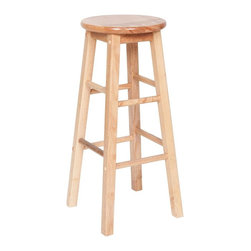 PRE Sales - Natural Wood Bar Stool - Set of 2 - Set of 2. Contemporay design. 3 years limited warranty. Made from natural wood. 13 in. Dia. top. 29 in. H (5 lbs.)