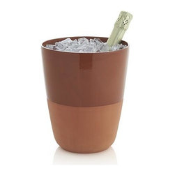 Barrio Wine-Champagne Bucket - Winning wine accessory expresses a straight-from-the-vineyard feel in rustic terra cotta, made modern with a slick of transparent glossy glaze on the interior. Teams up with coordinating wine cooler and wine coaster, ideal for entertaining indoors or out.