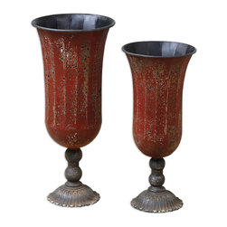 Uttermost - Gilroy Vases, Set of 2 - Accent pieces are an important part of finishing a room and these lovely red metal vases would look remarkable on your console table in an entryway or on your sideboard. Filled with dried flowers, you have created a decorating statement.