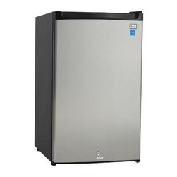 "Avanti - 4.5 CF Counterhigh Refrigerator - Black with Stainless Door - Dimensions: 19 1/4"" W x  22"" D x 33"" H"