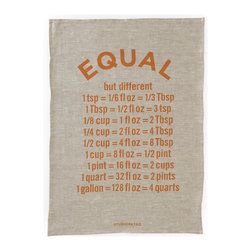 "Bambeco Equal Linen Tea Towel - Hand-printed with copper-colored water-based inks on oatmeal linen in the USA, the Equal Linen Tea Towel is the perfect kitchen accomplice. Adorned with words of wisdom for the creative cook, these towels will help jog your culinary memory – how may cups in a pint? The 100% linen fabric is sturdy, absorbent, a little nubby and becomes softer with each use. Use these towels to dry the dishes, cushion a bowl, protect your hands, wrap a gift or set a table. They're a natural, reusable and responsible alternative to paper.Linen may be one of the oldest textiles in the world, dating back to approximately 8,000BC; it is the strongest of the vegetable fibers, smooth and lint free. Linen is highly absorbent and easily dyed; the color will not fade with washings. Dimensions: 19.5""W x 27.5""H"