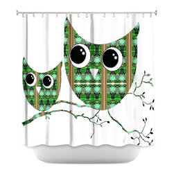 DiaNoche Designs - Shower Curtain Artistic - Owl Suspenders Green Brown - DiaNoche Designs works with artists from around the world to bring unique, artistic products to decorate all aspects of your home.  Our designer Shower Curtains will be the talk of every guest to visit your bathroom!  Our Shower Curtains have Sewn reinforced holes for curtain rings, Shower Curtain Rings Not Included.  Dye Sublimation printing adheres the ink to the material for long life and durability. Machine Wash upon arrival for maximum softness. Made in USA.  Shower Curtain Rings Not Included.