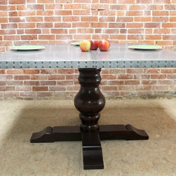 Zinc farm table  by ecustomfinishes - Made by http://www.ecustomfinishes.com