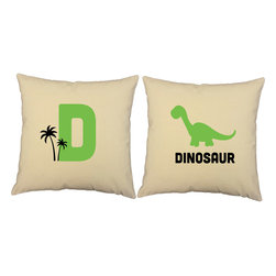RoomCraft - D for Dinosaur Throw Pillow Covers 16x16 Natural Dino Shams - FEATURES: