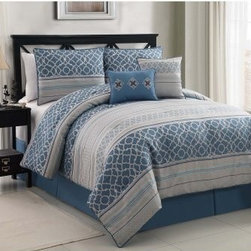 Victoria Classics Havoc 6 pc. Comforter Set - Just the right amount of pattern and color give the Victoria Classics Havoc 6 pc. Comforter Set its style. Just right in your guest or master bedroom suite, this comforter set comes in your choice of sophisticated color. It's well-made of polyester to be soft and machine-washable. This comprehensive comforter set includes the comforter, two matching pillow shams, one bed skirt, one square pillow, and one breakfast pillow. It comes in your choice of size.Quilt Dimensions:Full/Queen: 90W x 90L inchesKing: 104W x 90L inches