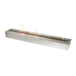 """Ignis - EB4800 Ethanol Fireplace Burner - Replace your existing wood-burning insert with this earth-friendly EB4800 Ethanol Fireplace Burner Insert. This insert uses clean burning ethanol, so you don't have to worry about harming the planet to stay warm. You can use this insert to construct your own unique fireplace design if desired. It holds 15 liters of fuel and burns up to 10 hours between fills. This modern-looking ethanol burner has double-layer construction and throws around 27,600 BTUs, so it is sufficiently sized to keep the whole family warm and toasty all season long. And since its ventless, you don't have to worry about installing a chimney or running gas lines - it can be used virtually anywhere. Dimensions: 48"""" x 5"""" x 3"""". Features: Ventless - no chimney, no gas or electric lines required. Easy or no maintenance required. Capacity: 4 Liters. Approximate burn time - 2 hours per refill. Approximate BTU output - 36000. Double Layer."""