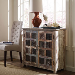 Shabby Chic 2 Door Cabinet - A wonderful story. A green story. Restored and available for a new, eco-friendly generation. Inspired by the hand tools used in ancient art of printing fabrics and by centuries-old hand carved panels adorning the inside and facades of aged buildings. The perfect piece of handmade artwork to incorporate into any dining room or livingroom.
