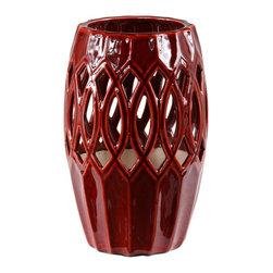 "Silver Nest - Striking Red Pierced Vase- 10""h - Red Ceramic Pierced Vase"