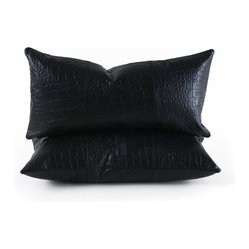 Faux Croc Throw Pillow