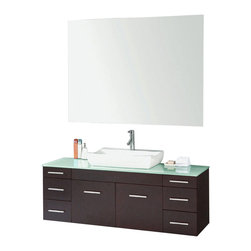 "Virtu USA - 56 Inch Single Sink Bathroom Vanity - This 56 inch modern wall mount single sink vanity is a perfect addition to your bathroom project.  The Espresso bathroom vanity features six drawers and two doors and a Glass counter top with white vessel sink that is pre-drilled for single hole faucet (included).  Large opening in back for easy plumbing installation.  Matching mirror included.  Dimensions: 58.8""W  X 18""D X20.2""H (Tolerance: +/- 1/4""); Counter Top: Tempered Glass; Finish: Espresso - (Very Dark Brown - Can Appear Black in Certain Lighting); Features: 2 Doors, 6 Drawers; Hardware: Brushed Nickel; Sink(s): 24"" X 5.5"" X 15"" White Ceramic Vessel; Faucet: Pre-Drilled for Standard Single Hole - Faucet Included(PS-103); Assembly: Fully Assembled; Large cut out in back for plumbing; Included: Cabinet, Sink, Mirror (55"" X 39""), Faucet; Not Included: Backsplash."