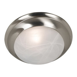 Kenroy Home - Kenroy 80360BS Dickens 1 Light Flush Mount - Dickens is available in two classic finishes to make coordinating easy.  With twist lock glass and a contemporary design, this flush mount family is a must for any modern home.