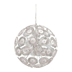 Cyan Design - Dandelion Pendant, Small - This glass sphere glows with imagination! The mottled glass discs on delicate individual stems combine to create a breathtaking illuminated sculpture. Small: Approx. 1 ft. 8 in. in diameter.