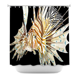 DiaNoche Designs - Shower Curtain Artistic - Deep Sea Life- Lion Fish - DiaNoche Designs works with artists from around the world to bring unique, artistic products to decorate all aspects of your home.  Our designer Shower Curtains will be the talk of every guest to visit your bathroom!  Our Shower Curtains have Sewn reinforced holes for curtain rings, Shower Curtain Rings Not Included.  Dye Sublimation printing adheres the ink to the material for long life and durability. Machine Wash upon arrival for maximum softness on cold and dry low.  Printed in USA.