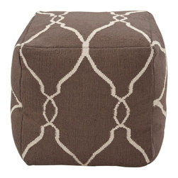 Jill Rosenwald - Jill Rosenwald POUF-21 Cube Pouf - This square pouf has a distinctive, stylish pattern that is sure to be a conversation piece. Colors of ivory and dark chocolate accent this pouf.