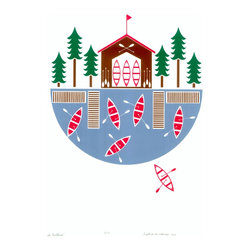 """Lake Boathouse"" Artwork - Lake Boathouse is a four color, hand printed edition of only 50 prints.  Printed by hand in my West London studio, this four color print was so much fun to do. I love how the colors came out - it really makes you think of kayaking on crystal clear waters along tree-lined shores. I can smell the fresh air! There is something distinctly Scandinavian about this print.  Signed, dated and numbered.  Paper size: Standard A2 -59.5cm x 42cm (23.42 x 16.53)  Please note: Frame not included"
