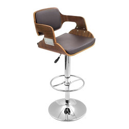 Lumisource - Fiore Chrome and Wood Bar Stool - Adjustable height from counter to bar. 360 degree swivel. Unique bent wood design. Material: Wood, Faux Leather, Chrome. Assembly Required. Dimensions: 19 in. L x 19.5 in. W x 43 in. H ( 26 lbs. ). Seat Height: Adjustable from 27 to 32 in.Modern elegance first comes to mind with the Fiore barstool. With a walnut bent wood back and armrests  and a padded  brown leatherette seat, this barstool is both comfortable and stylish. Hydraulic lift lets you adjust the seat height from 27 in. to 32 in. Chrome base, pole and footrest.