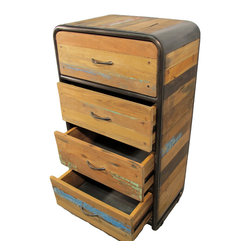 "Impact Imports USA, Inc. - Boat Wood Dresser with 4 Drawers - Dresser with 4 drawers hand crafted from salvaged fishing boat wood.  This is a popular dresser and is part of the ""Retro"" style line of reclaimed / salvaged boat wood furniture pieces offered by Impact Imports."