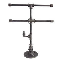 Industrial Home Bazaar - Industrial Pipe 2 Tier Jewelry Stand with Ring Hook - Industrial Pipe 2 tier Jewelry Stand with Ring Hook. A beautiful way to display your jewelry, whether it is for sale, or part of your personal collection. The 2 t-bars create a multi-level jewelry display for your necklaces and bracelets and the lower hook can hold rings or additional bracelets. It has a heavy and sturdy base for balance.