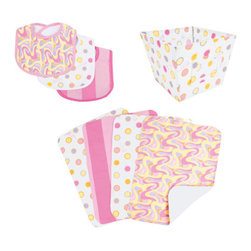 "Trend Lab - Dr. Seuss Pink Oh, The Places You'll Go! - Bib, Burp & Storage Set - Keep messes to a minimum with this stylish Dr. Seuss Pink Oh, the Places You'll Go! Bib, Burp Cloth, and Storage Bin Set by Trend Lab. Set includes three bibs, four burp cloths and one fabric storage bin. Bibs and burp cloths each have fun, modern printed cotton on the front and terry on the back. Storage bin features a label window for quick identification and Velcro attachment. Bib patterns include: one swirl print in bubblegum and hot pink, lilac, apricot and soft yellow with bubblegum pink trim; one dot print in bubblegum, hot pink, lilac, apricot and soft yellow on a white background with white trim; and one bold stripe print in bubblegum and hot pink with hot pink trim. Burp cloth patterns include: two dot print in bubblegum, hot pink, lilac, apricot and soft yellow; one swirl print in both pinks, lilac, apricot and soft yellow; and one bold stripe print in both pinks. Storage bin features a matching dot print in bubblegum, hot pink, lilac, apricot and soft yellow on a white background. Each bib measures 9"" x 12"" with Velcro closure, each burp cloth measures 10"" x 13"", and storage bin measures 8"" x 8"" x 6"". Bib, Burp Cloth and Storage Bin Set coordinates with the Dr. Seuss Pink Oh, the Places You'll Go! collection by Trend Lab. Product sold under license from Dr. Seuss Enterprises, L.P."