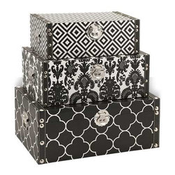 Essentials Storage Boxes - Black - Bold and graphic patterns wrap the exterior of this handy and stylish set of three storage boxes. With chrome and faux leather detailing in the trim and hardware, these are an easy choice in holding your collectibles or desktop odds and ends.