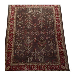 """Pre-owned Restoration Hardware """"Hakkari"""" Rug - 9' x 12' - A Restoration Hardware Hakkari rug.    Product description from RH: """"Double-sheared and double-washed for a velvety finish, our silky-soft rug is inspired by ancient Turkish tradition. 100% wool. Hand-tufted from long-staple New Zealand wool. 70���80 tufts per square inch. Dense, silky pile. Shearing enhances definition of pattern. In mocha with a red border and gold, olive and red highlights. Imported. """""""