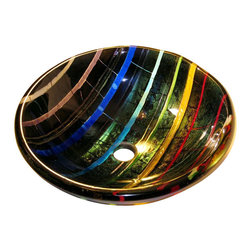 Brock Madison Glass LLC - Prism Glass Vessel Sink - Hand Made and signed by artisan Brock Madison, this bowl was influenced by the effect of sunlight entering a prism and displaying the spectrum of visible color, as first discovered by Sir Isaac Newton. The bowl's colors are luminous, transparent striations with alternating strips of rainbow and black iridescent, giving it a shimmering radiance. When lit from above, the colored striations are dispersed on the floor or counter top below.   This glass vessel sink is hand-made by artisan Brock Madison, of Golden Colorado.