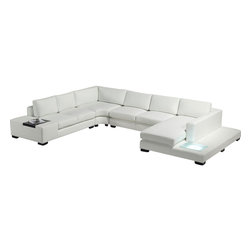 Tosh Furniture - Modern White Leather Sectional Sofa with Built-in Light - This ultra modern sectional sofa made from top grain leather in combination with best leather match is a fashionable and functional piece of contemporary living room furniture. This modern sectional can seat 7 people luxuriously, and features two end tables, and one with a built in light! This is a beautiful piece of furniture that any contemporary furniture connoisseur would love to have in their home.