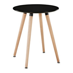 Modway - Modway EEI-1058 Track Circular Side Table in Black - Like freshly budding plants, determined to sprout, ideas will push to the surface with this minimalist modern dining table. Track will generate a swirl of conversations, activities, and ideas that mix to form a vibrant atmosphere. Solid beechwood legs and a smooth veneer top create an artistic side table that presents a clean slate at every gathering.