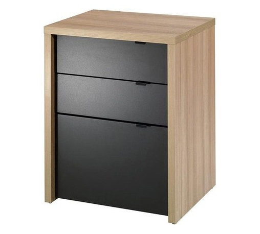 """Nexera - Infini-T Three Drawer File Cabinet in Biscotti and Espresso - We all have different needs and preferences so why not have a collection that caters to what YOU want? Express your creativity with the brand new Infini-T collection from Nexera. Entertainment center, home office, storage and decoration - this collection does it all! With its unique modular conception that lets you mix and match the different items, you're sure to find your own perfect configuration. Features: -Three drawer unit desk. -Infini-T collection. -Biscotti and espresso finish. -Engineered wood and laminate construction. -Legal file drawer. -Three utility drawers with metal glides. -Metal drawer pulls. -Assembly required. -Overall Dimensions: 24.5"""" H x 19.75"""" W x 18.88"""" D. Create and configure your own room setting with the Infini-T collection's modular furniture: Infini-T Configuration"""