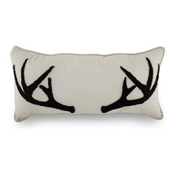 Zeckos - Fuzzy Tufted Antlers Tan and White Ticking Striped Accent Pillow 12 In. x 24 In. - This fun accent pillow will add a natural element to your space whether it's on the bed, on the couch or decorating a shelf. It has a 100% cotton tan and white ticking striped cover and is polyester fiber filled and features fuzzy dark brown tufted antlers on the front that are super soft to the touch, and measuring 12 inches high (30 cm) and 24 inches long (61 cm), this pillow is perfect to wrap yourself around and curl up with a good book or hide behind during a scary movie, and is recommended to spot clean only. This pillow is a great space filler, and would make a wonderful gift for any nature lover or hunter in your life!