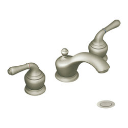 """Moen - Moen T4570BN Brushed Nickel Bath Sink Faucet Trim Two Lever Handle - Moen T4570BN is part of the Monticello Bath collection. Moen T4570BN is a new style bathroom lavatory, sink faucet trim. Moen T4570BN has a Brushed Nickel finish. Moen T4570BN two handle widespread lavatory faucet mounts in a 3-hole 8"""" - 16"""" Center sink, with 5 1/8"""" long and 4 1/2"""" high spout. Moen T4570BN has Hydrolock quick connect system and includes a metal pop-up drain. Moen T4570BN two handle widespread trim requires Moen's 9000, or 69000 valve to make this faucet complete. This model does not include handle inserts. (Sold separately) Moen T4570BN is part of the Monticello bath collection with its simple beauty and elegant lines this collection brings a timeless design into any homes decor. Moen T4570BN two lever handle provides ease of operation. Brushed Nickel is an exclusive finish from Moen and provides style and durability. Moen T4570BN metal lever handle meets all requirements ofADA ICC/ANSI A117.1 and ASME A112.18.1/CSA B125.1, NSF 61/9 and proposition 6"""". Water Sense Certified. Lifetime limited Warranty."""
