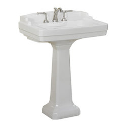 St Thomas Creations - St Thomas Creations 5123.082.01 Neo-Venetian Petite 8-Inch Centerset Pedestal Si - Petite 8-Inch Centerset Pedestal Sink Only in White belongs to Neo-Venetian  Collection by St Thomas Creations Colonial in appearance, intricate in detailing, the Neo-Venation suite is a perennial favorite. The rectangular lavatory and bowl are complemented by a square but graceful tapered pedestal base. The water closet features a distinctive squared colonial Colum base with matching backsplash. The overall effect is magnificent.  Sink (1)