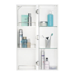 Croydex - White Polar Medicine Cabinet - WC400222YW - Manufacturer SKU: WC400222YW. Spacious interior double door storage. Spacious interior double door storage. Easy to install. All fittings included. 9.84 in. W x 8.27 in. L x 31.5 in. HThe Croydex Polar cabinet is a slimline mirrored cabinet ideal for smaller spaces but with a very spacious interior. It makes full use of the door as it also has room for storage. Inside there is two adjustable toughened glass shelves adding to the convenient storage solution.