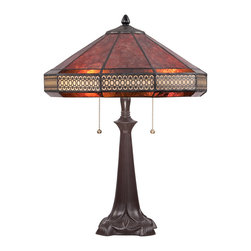 Quoizel - Quoizel Western Bronze Lamps - SKU: MC1426TWT - The Canasta table lamp features beautiful mica and tiffany glass displayed in a simple yet elegant pattern. The lattice-like border adds visual interest but doesn`t detract from the overall design. The Western Bronze finish on the base completes the look of this dignified table lamp.
