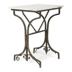 """Vintage Garden Table with Marble Top - This beautiful vintage garden table reveals chipping dark grey paint, with a rusting patina holding a white marble top. An ideal piece for indoors or in your garden. Measures  30""""h x 22""""w x 15""""d."""