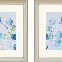 """Paragon Decor - Modern Branch, Set of 2 Artwork - Brighten up those boring walls with this colorful set of 2 pieces, """"Modern Branch."""" Each piece in this set depicts an artistic rendition of a close-up tree branch. The branch itself is thin and delicate, and the leaves of the branch are round and slightly translucent. Each branch reaches toward the sun on a soft powder-blue background. Each piece is surrounded by an off-white matte and a simple frame. Each piece in this set measures 29 inches wide, 2 inches deep, and 29 inches high."""