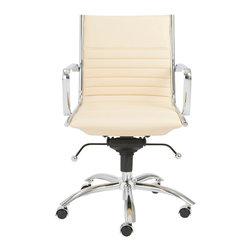 Eurostyle - Dirk Low Back Office Chair - Butter/Chrome - Leatherette over foam seat and back