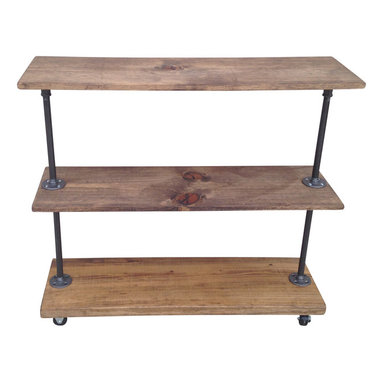 N/A - Urban Industrial Rolling Storage Rack with 3 Shelves - This rolling storage rack is built from recycled iron piping and reclaimed wood. It will add a touch of class to a loft, office, rustic style home decor or an industrial space.