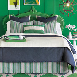 """Eastern Accents - Heston Bedset - The Heston bed set's contemporary vibe is shaped by simple lines and plush texture. The luxe bedding ensemble's emerald green, navy blue and ivory colorway offer on-trend sophistication. Available in twin, full, queen, super queen, king, super king and Cal-king; Professional cleaning recommended; Bedding set includes:; Strauss Denim duvet cover with self reverse, button closures and inside corner ties to attach comforter (not included); Heston bed skirt with 16""""-25"""" drop, split corners and kick pleats; Strauss Denim euro sham with self reverse, wide white edge and zipper closure; includes polyester fiber pillow insert; Heston standard or king sham with self reverse, navy blue cording and zipper closure; includes polyester fiber pillow insert; Carousel Kelly bolster pillow with self reverse, handmade origami detail cording and zipper closure; includes polyester fiber pillow insert; Optional Strauss Denim curtain panels with nickel grommets for up to 1.5"""" Dia pole and 100% cotton drapery lining (available in 3 sizes); 95% light exclusion blackout lining and additional grommet finishes available by custom order, contact shop@zincdoor.com"""