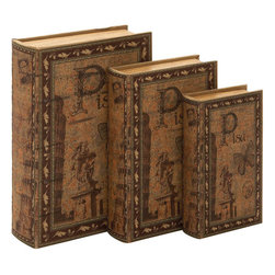 Benzara - Library Storage Books - Wood Book Box - Set of 3 13in., 11in., 9in.H - Made with hollowed wood Size - 9 in. x3 in. x13 in.