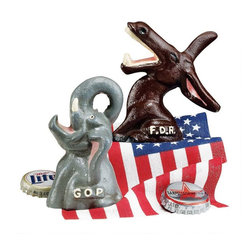 EttansPalace - Hand-Painted Gop and Fdr Bottle Openers Collectible - Full of campaign speeches, the collectible GOP Republican elephant is an antique replica that opens bottles with vintage political panache! The Democratic Donkey pushes his party platform with an open mouth that also pops your tops. Each is hand-crafted exclusively for using the time-honored sand cast method and then hand-painted. These pieces of highly collectible vintage political memorabilia make a great gift!