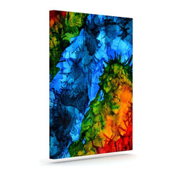 """Kess InHouse - Claire Day """"Flow"""" Blue Green Wrapped Art Canvas (24"""" x 20"""") - Bring your outdoor patio to life with this artistic outdoor canvas wrap featuring gorgeous artwork by KESS InHouse. These canvases are not only easy to hang and remove but also are the perfect addition to your patio collection. These canvases are stretched around a wooden frame and are built to withstand the elements and still look artistically fabulous. Decorating your patio and walls with these prints will add the splash of art and color that is needed to bring your patio collection together! With so many size options and artwork to choose from, there is no way to go wrong with these KESS Canvas Wraps!"""