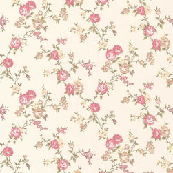 Graham and Brown - Rose Cottage Wallpaper - Like warm buttermilk pancakes on a lazy weekend day, this wallpaper will conjure up good memories of days gone by. The buttermilk and pink climbing rose design brings warmth and coziness to a cottage, cabin or condo.