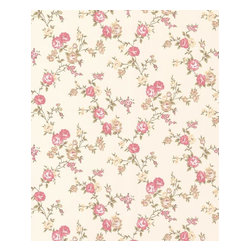 Graham and Brown - Rose Cottage Wallpaper - Buttermilk/Pink - Rose Cottage wallpaper - this small scale climbing rose wallpaper compliments the other floral papers in this collection.