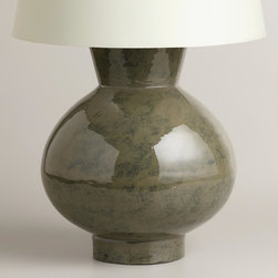 World Market - Gray Ceramic Table Lamp Base - Full of timeless appeal, our Gray Ceramic Table Lamp Base is made of iron and finished with a rich, pottery-like glaze. Perfect for dressing up an end table, console table or nightstand, this brilliantly priced lamp pairs beautifully with any of our mix-and-match lamp shades.