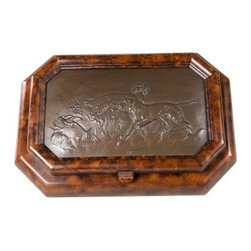 Birddog Box - 12W x 3H in. - The Birddog Box is traditional gentleman's jewelry box. Constructed of durable resin this piece has been finished to give the look of pressed bronze and carved wood with a Burlwood finish. Features a detailed design of two hunting dogs chasing birds in the wild. Hinged lid lifts to reveal a generous storage area with lined bottom. It's the perfect size for all your jewelry and other small valuables. Measures 12W x 9D x 3H inches.About OK Casting LLCSince 1993 OK Casting has been serving the home gift and private artist market with memorable home decorative accessories. Hand-made and manufactured in the United States OK Casting's products are created from the finest and most durable resins. Whether for their lamps wall decor bookends or statutes OK Casting is known for exquisite craftsmanship and attention to detail. Inspired by lodge wildlife and equine artwork each piece radiates beauty and quality for your home cabin or lodge decor.