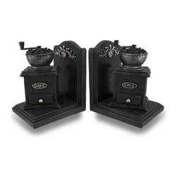 Zeckos - Vintage Style Coffee Grinder Cast Resin Bookend Set of 2 - This unique set of vintage style coffee grinder bookends would look right at home displayed in your kitchen, studio, home or office. Made of cold cast resin, each bookend measures 6 1/2 inches high, 5 1/4 inches long and 4 1/2 inches wide. The coffee grinders are highly detailed and are hand-painted. They have padded foam feet on the bottoms to keep your furniture scratch free This set of 2 bookends makes the perfect gift for coffee fanatics